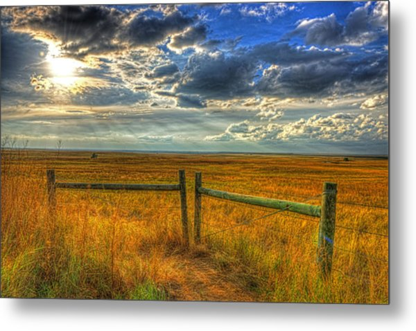 Sun Burst Over The Plains Metal Print