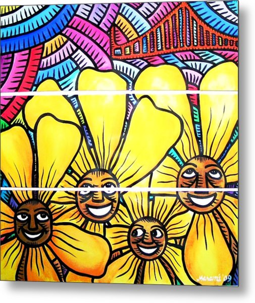 Sun Flowers And Friends Sf 1 Metal Print