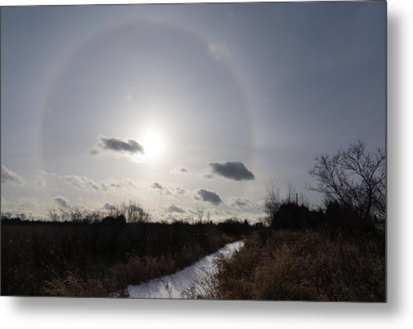 Sun Halo - An Amazing Optical Phenomenon In The Winter Sky Metal Print