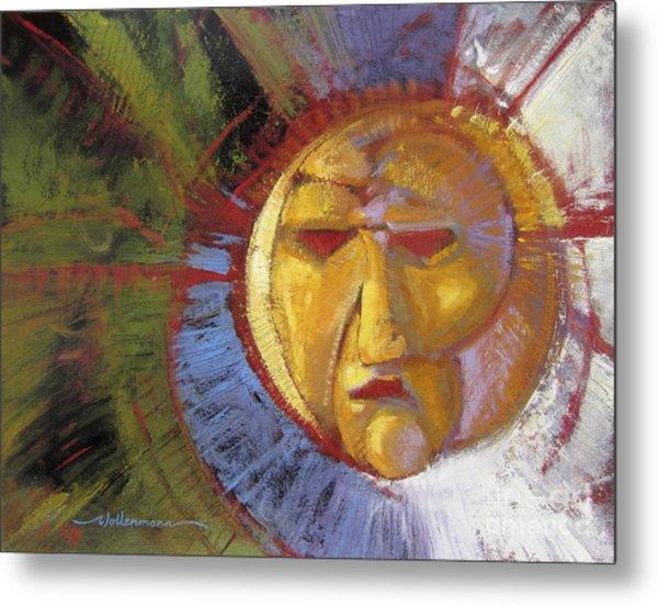 Sun Mask Metal Print