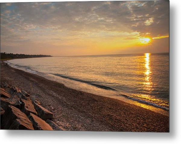 Metal Print featuring the photograph Sun Over Lake Erie Shoreline by David Coblitz