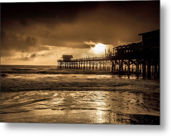 Sun Over The Pier Metal Print