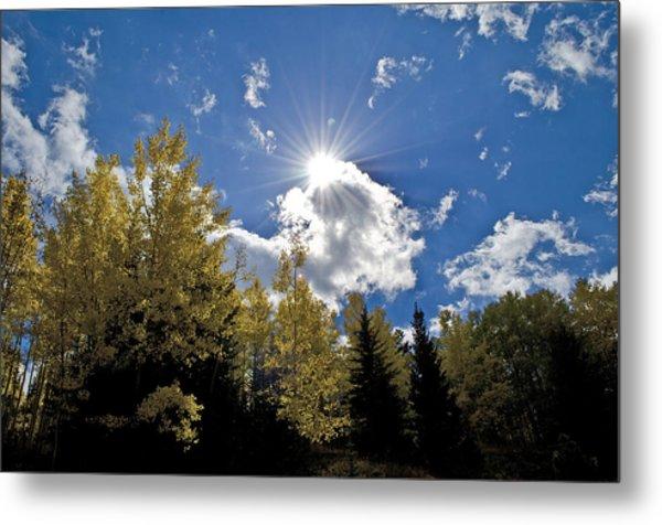 Sun Rays Across Colorado Mountain Metal Print