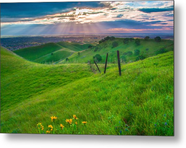 Sun Rays And Green Hillside Metal Print