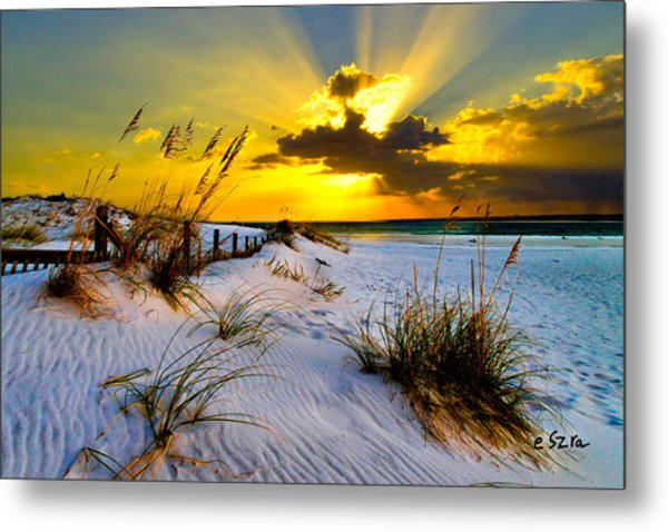 Sun Rays Golden Landscape Metal Print