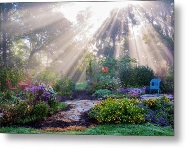 Sun Rays In Fog In Flower Garden Metal Print