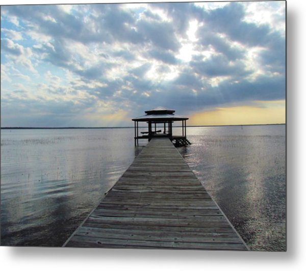 Sun Rays On The Lake Metal Print