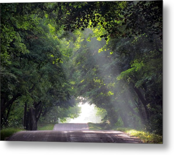 Sun Rays On Waters End Road Metal Print