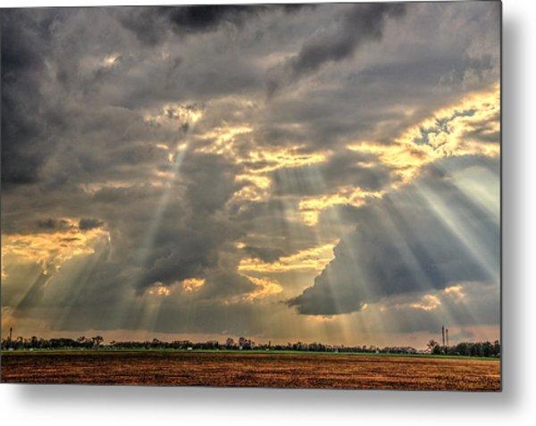 Sun Rays Over A Field Metal Print