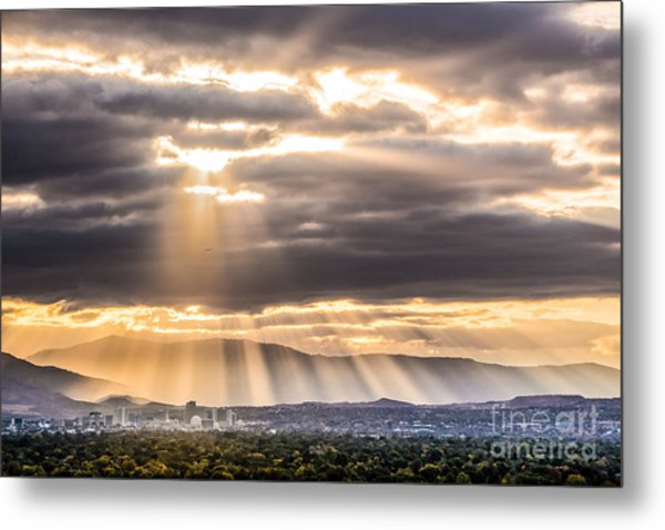 Sun Rays Over Reno Metal Print