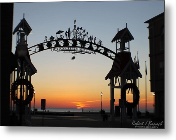 Sun Reflecting On Clouds Ocean City Boardwalk Arch Metal Print