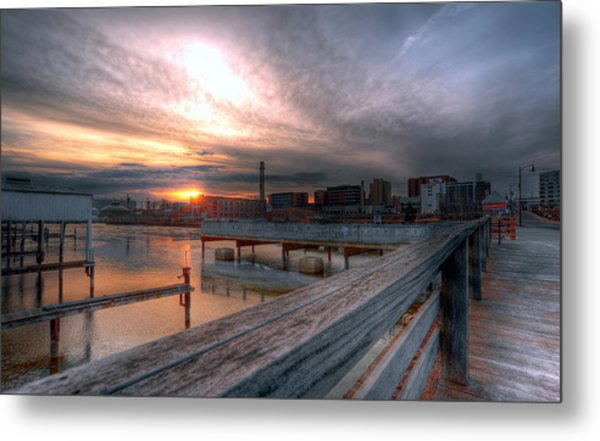 Sun Rise Over Erie Pa Metal Print by Brian Fisher