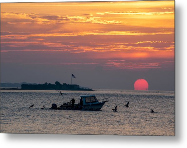 Sun Rise Over Fort Sumter Metal Print