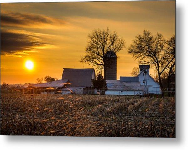 Sun Rise Over The Farm Metal Print