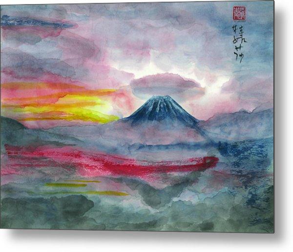 Sun Salutation At Mt. Fuji Metal Print