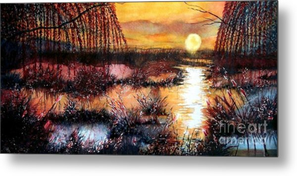 Sun Sets On The Marsh Metal Print by Janine Riley