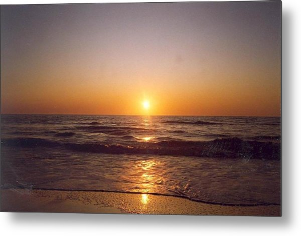 Sun Setting At Ocean Beach Metal Print