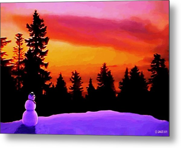 Sun Setting On Snow Metal Print