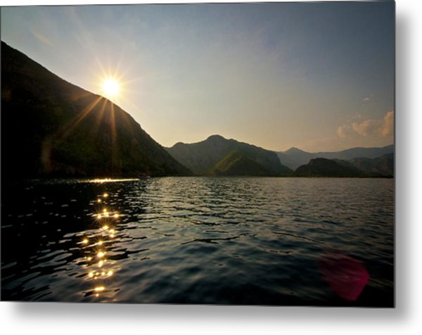 Sun Sparkles On The Mediterranean Sea Metal Print