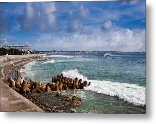 Sunabe Seawall Surf Metal Print by Chris Rose