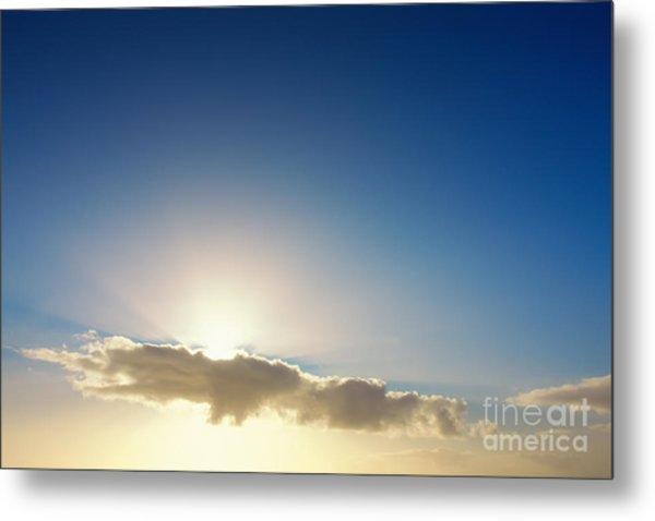 Sunbeams Behind Clouds Metal Print