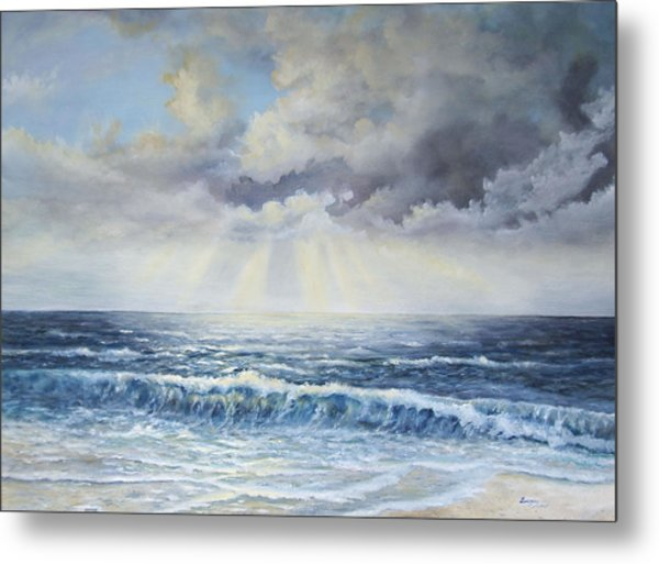 Metal Print featuring the painting Sunburst by Katalin Luczay