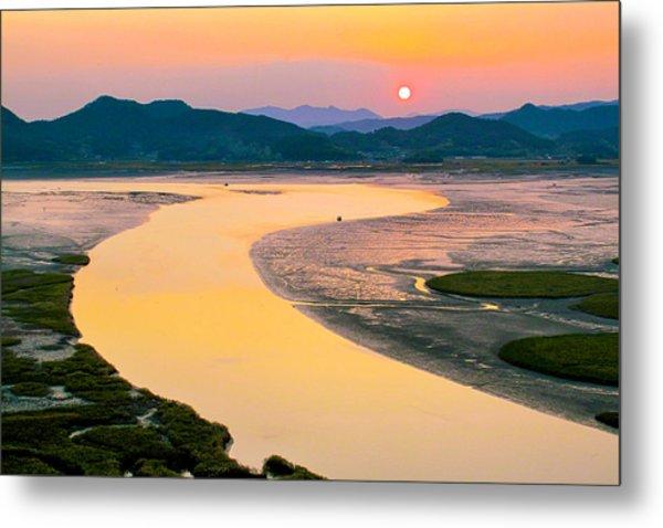 Suncheon Bay Sunset Metal Print