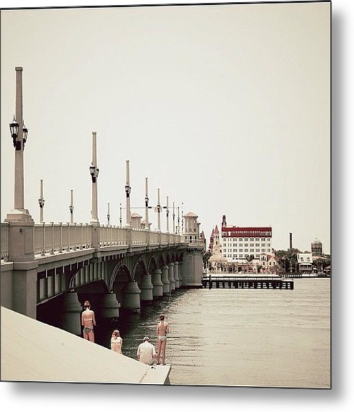 Sunday By The Bridge - Fl Metal Print