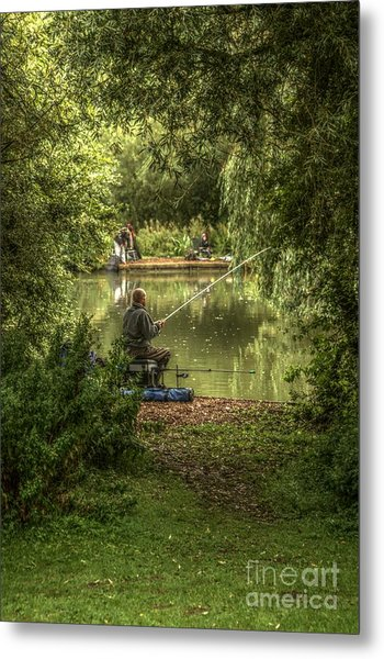 Sunday Fishing At The Lake Metal Print