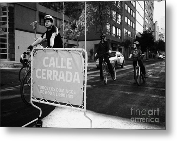sunday morning roads closed for cyclists and walkers Santiago Chile Metal Print by Joe Fox