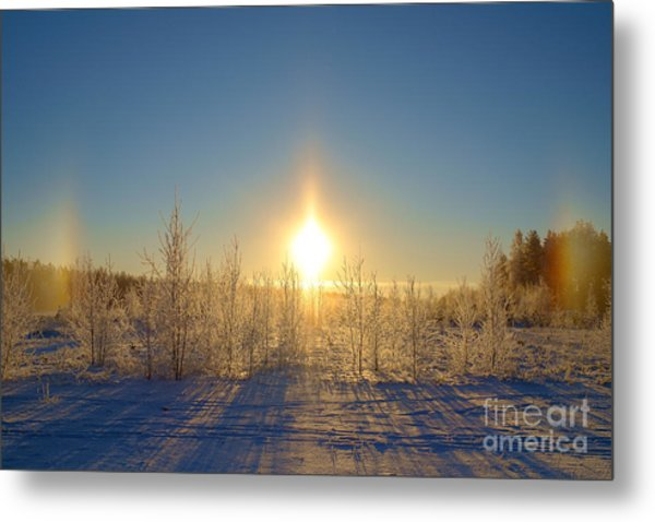 Sundogs In Winter Wonderland Metal Print