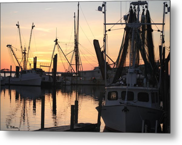 Sundown At Marshallberg Harbor Metal Print