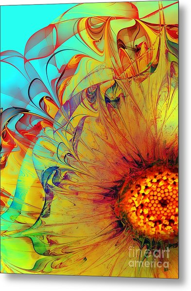 Sunflower Abstract Metal Print