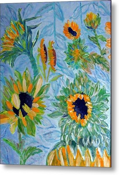 Sunflower Cycle Of Life 1 Metal Print