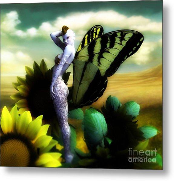 Sunflower Fairy Metal Print by Sandra Bauser Digital Art