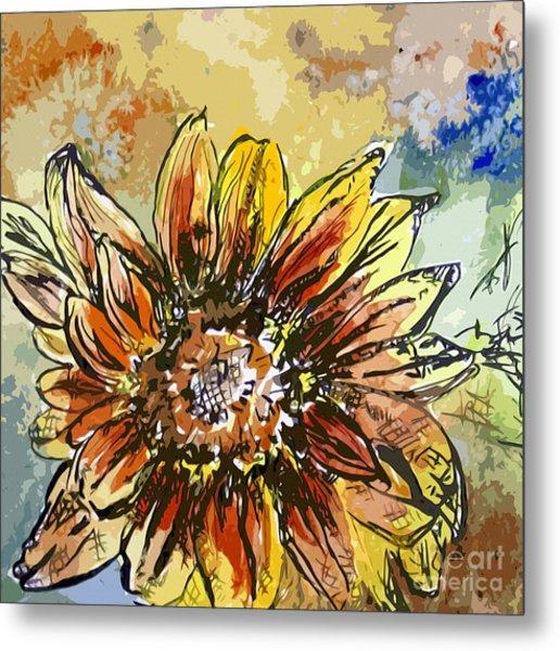 Sunflower Moroccan Eyes Metal Print