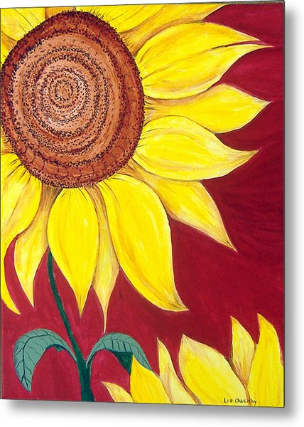 Sunflower On Red Metal Print
