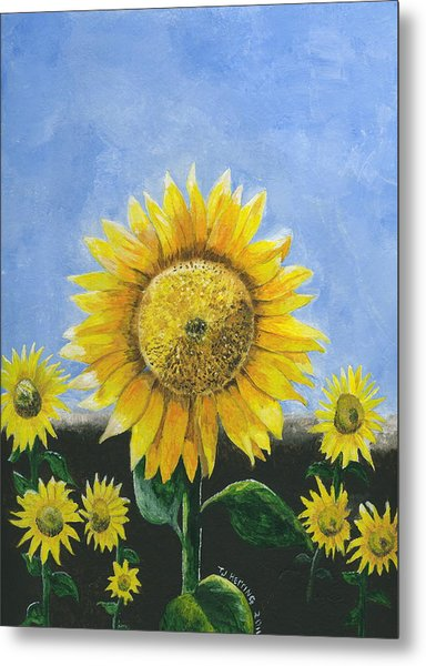 Metal Print featuring the painting Sunflower Series One by Thomas J Herring