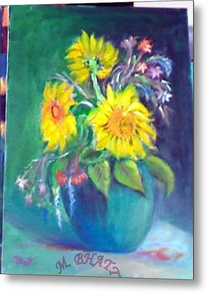 Sunflower Vase Metal Print by M Bhatt