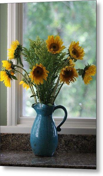Sunflower Window Metal Print by Paula Rountree Bischoff