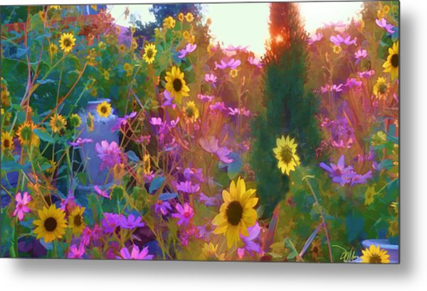 Sunflowers And Cosmos Metal Print