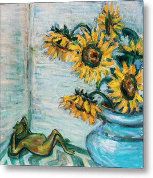 Sunflowers And Frog Metal Print