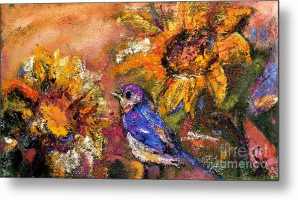 Sunflowers And Little Blue Bird Metal Print