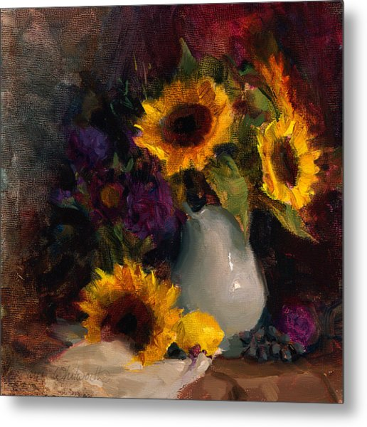 Sunflowers And Porcelain Still Life Metal Print