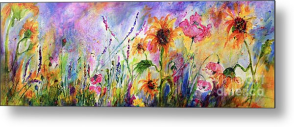 Sunflowers Bees Pink Poppies Wildflowers Metal Print