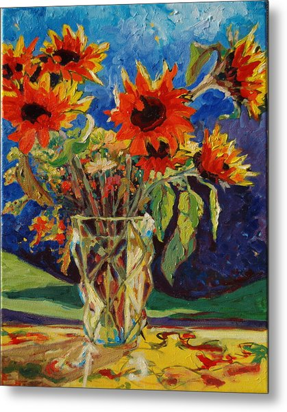 Sunflowers In A Crystal Vase Metal Print