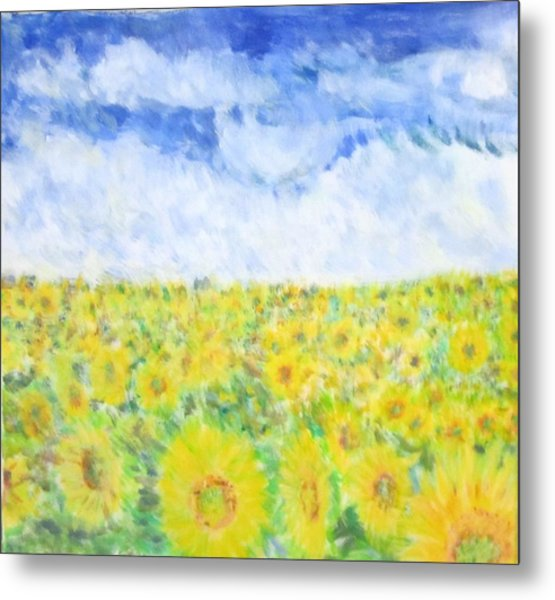 Sunflowers In A Field In  Texas Metal Print