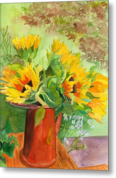 Sunflowers In Copper Metal Print