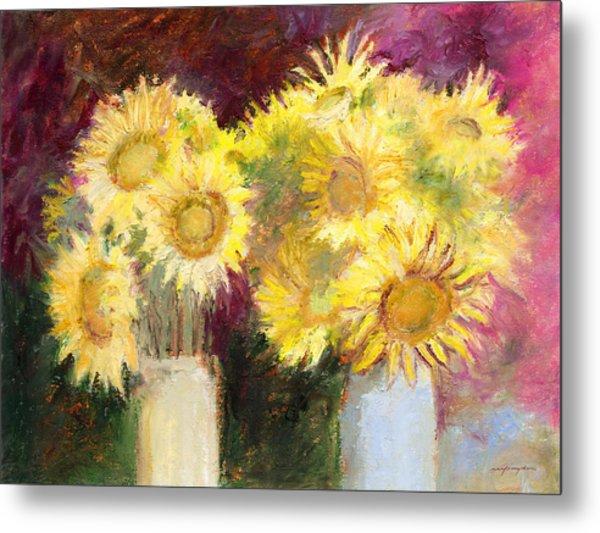 Sunflowers In Jars Metal Print