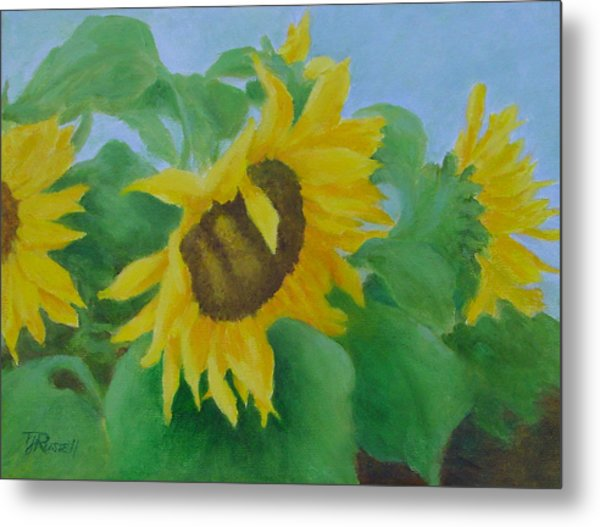 Sunflowers In The Wind Colorful Original Sunflower Art Oil Painting Artist K Joann Russell           Metal Print